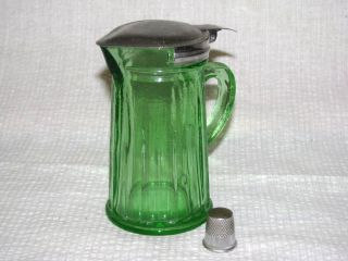 Depression Green Glass Syrup Pitcher with Thumb Tip Top