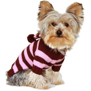 Designer Dog Clothes Pet Jumper Stripy Hoodie Coat