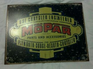 Chrysler Mopar Metal Advertising Sign