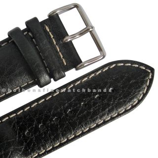 26mm deBeer Black Chrono Sport Leather Mens Distressed Watch Band