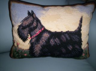 TERRIER SCOTTIE DOG DECORATIVE 12X17 WOOL CROSS STITCHED VELVET PILLOW