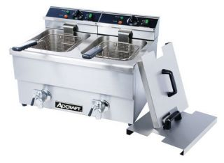 Commercial Double Deep Fryer 50lbs HR Adcraft DF 12L 2