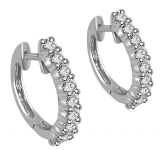 Round Cut Diamond Jewelry 14kt White Gold Hoop Huggie Earrings