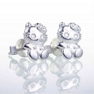 14k Cute Hello White Gold Kitty Diamond Stud Earrings