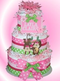 Pink and Green Personalized Monkey Diaper Cake Baby Shower Center