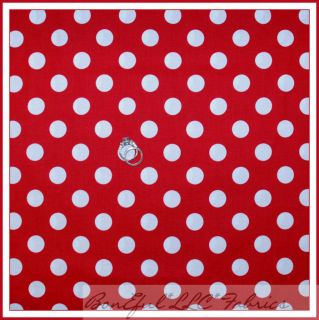 BonEful Fabric FQ Disney Minnie Mouse Red White Polka Dot Vtg Large