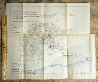 Spanish American War Map 1898 Battle of Guayama Puerto Rico Brig Gen