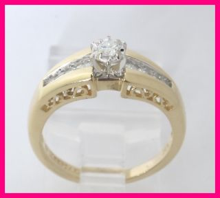 14k Yellow Gold Round Diamond KEEPSAKE Engagement Ring .30ct