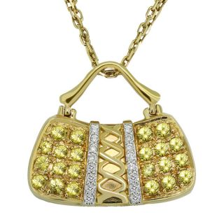 Yellow Gold Sapphire Diamonds Handbag Purse Pendant Necklace P31
