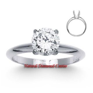 Round Brilliant Cut Diamond Solitaire Engagement Ring 14k Gold D SI2