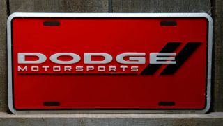 Metal Red Dodge Motorsports with Black Bars License Plate Tin Signs