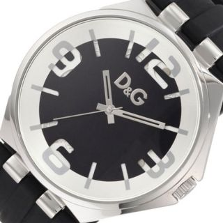 Dolce Gabbana Carson D G Mens New Steel Watch Black Rubber Band DW0582