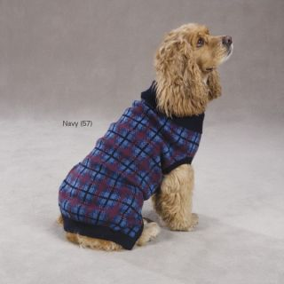 Zack Zoey English Plaid Dog Sweater Navy XXS XL