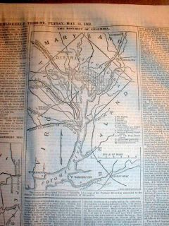 1861 Civil War Newspaper w Detailed Map Washington DC Maryland