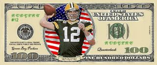 Aaron Rodgers in green jersey Green Bay Packers 100 Dollar Bill