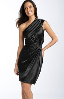 Adrianna Papell One Shoulder Twist Satin Dress Black 10