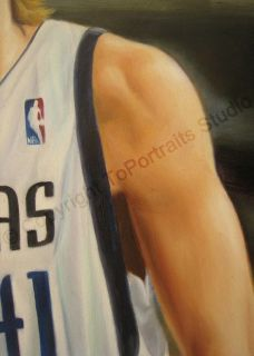 Dirk Nowitzki Dallas Mavericks Canvas Art Oil Painting