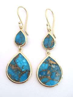 IPPOLITA Yellow Gold Polished Rock Candy Bronze Turquoise Earrings New