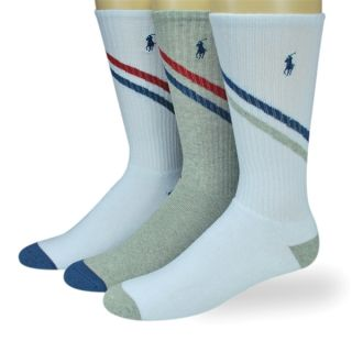 Polo Ralph Lauren Mens Socks Crew White Grey 3 Pairs