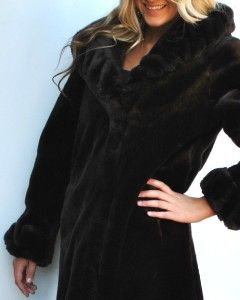 New Womens Donnybrook Faux Fur Coat Jacket Long Coat Brown Small S