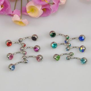 12pcs Double Crystal Gems Balls Navel Belly Body Piercing Ear Rings