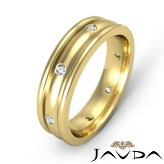 Mens Bezel Round Diamond Solid Ring Eternity Wedding Band 14k Gold