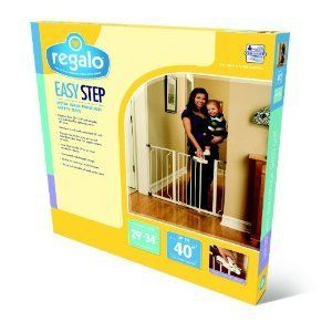 New Regalo Easy Step Walk thru Baby Pet Dog Gate White