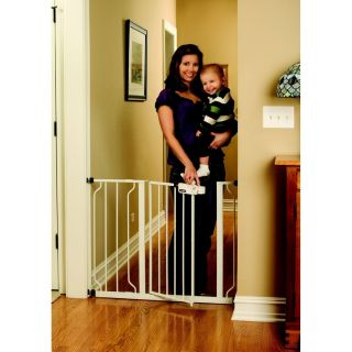 Open Extra Wide Baby Child and Pet Dog Metal Gate White Door