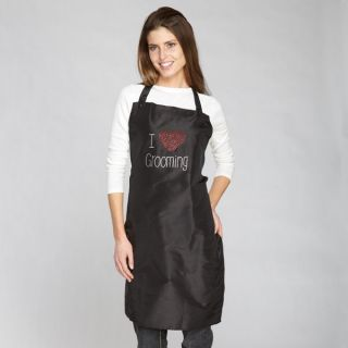 DOG GROOMING APRON   RHINESTONE  I LOVE GROOMING   BLACK
