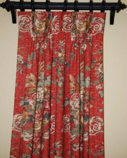 Pinch Pleat Custom Made Red Green Gold Floral Drapes 1 Pair