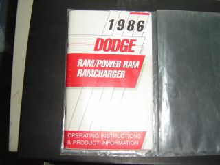 Dodge RAM Power RAM Ramcharger Truck Owners Manual 1986