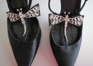 RARE Kate Spade Black Satin Pump Crystal Dragonfly 37 5 7 5