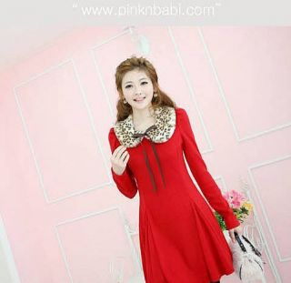 Valentine Korea Girls Puff Long Sleeve Charm Mini Dresses Red Faux Fur