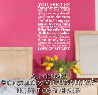 You Are The Love of My Life Quote Vinyl Wall Decal Lettering