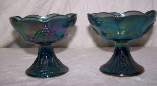 Beautiful Antique Blue Carnival Glass Candle Holders