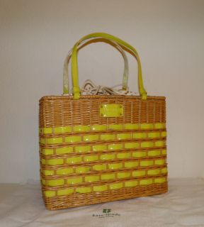 Tag Kate Spade New York Yellow EdgarTown Quinn Straw Tote Handbag Bag