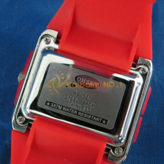 New OHSEN Dual Time 30M Waterproof Diver Womens Ladies Sport Watch Red