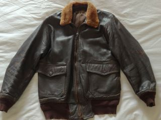 Post WWII 50s JA Dubow USN G1 leather flight bomber jacket m422 A2
