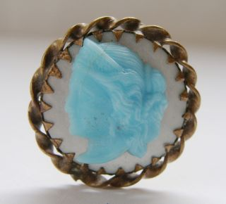 Antique hatpin Blue Glass Cameo