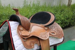 WESTERN SHIRAZ BAREL RACER HAND CARVED 14 SADDLE