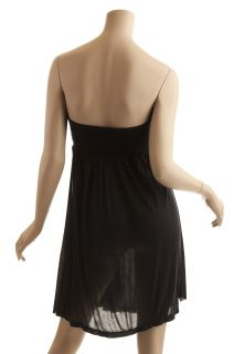 BCBG Max Azria Womens Black Knit Jersey Modal Strapless Cover Up Dress