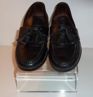 Mens Black Leather Allen Edmond Tassel Loafers Shoes Size 8.5 M