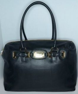 Michael Kors Extra LG Hamilton Black Leather Weekender Tote Bag New w