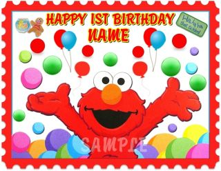 Elmo for 1st or Any Age Birthday Edible Cake Topper Image Decorations