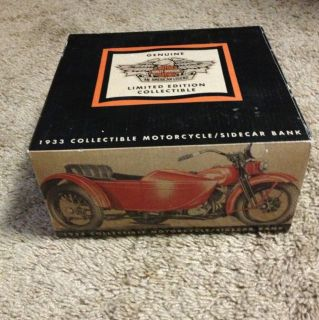 1933 Harley Davidson Motorcycle w Sidecar Collectible Bank MINT