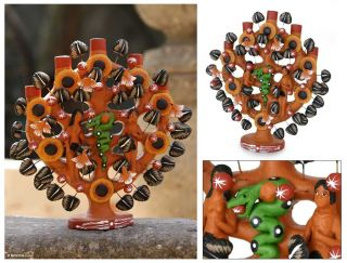 ADAM & EVE~~Mexican FOLK ART Sculpture~~Tree of Life~~Novica