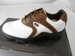 New Etonic Dry Essentials Mens Golf Shoes White Brown 10