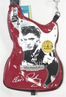 Elvis Presley Small Red Hot Guitar Shaped Purse Handbag Shoulder Bag