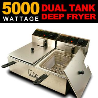 Commercial Double Tank Countertop Restaurant Electric Deep Fryer 5000W