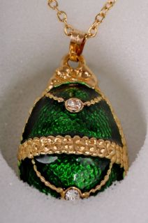 Faberge Easter Egg Pedant by Keren Kopal Swarovski Crystal Jewelry Box